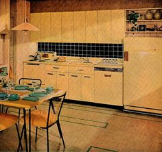 vintage yellow kitchen home design 1959 mad men by FrenchFrouFrou, $12.95