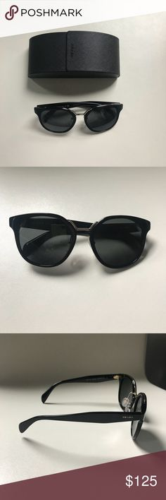 Prada Catwalk Black Sunglasses with Gold Hardware Prada Catwalk Black Sunglasses with Gold Hardware. Only worn once and in like-new condition. Comes with Prada case and dust cloth. Prada Accessories Sunglasses