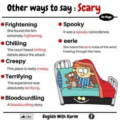 Other ways to say: Scary English Vocabulary Words, Learn English Words, Grammar And Vocabulary, English Idioms, English Study, English Lessons, English Grammar, French Lessons, Spanish Lessons