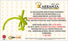 Invitaciones  Develación de escultura Nudo Neurológico al Final del Arcoíris por el escultor plástico Pepo Toledo. #PepoToledoArt
