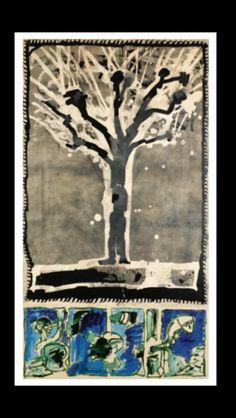 Pierre Alechinsky - Sève, 1991 - Acrylic on paper laid down on canvas - 135 x 75 cm