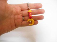 sailormoon necklace, Crescent Moon, Wand Necklace, sailormoon jewelry, usagi necklace