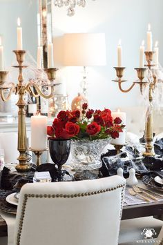 Gothic Dinner Party for Halloween in Elegant Dining Room with Red Roses as the Centerpiece