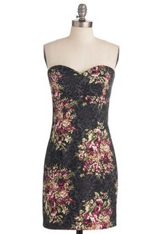 Filigree and Floral Dress in Sheath, #ModCloth  This dress would be perfect for winter or summer. Paired with a strappy sandal or a cardigan, tights and boots, the print allows multiple uses