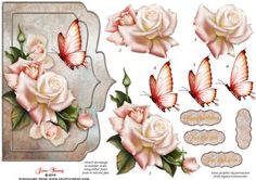 "Champagne Roses on Craftsuprint designed by June Young - A shaped card front which will fit a 7"" x 5"" card. A spray of large champagne roses and a toning butterfly on a silk look background with two narrow raised frames. This design can be used for practically any occasion. There is decoupage for both the floral elements and the butterfly and there are four greetings plates, one is blank for your own lettering. - Now available for download!"