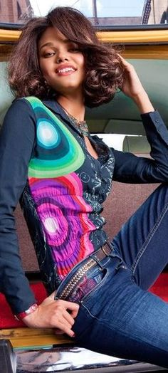 denim + desigual top, lovely  hair, spring outfit, jeans, spring shirts