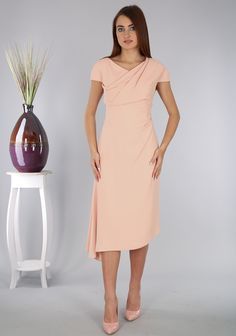 ddf25798ff9 Caroline Kilkenny Blush Pink Ophelia Crepe Dress