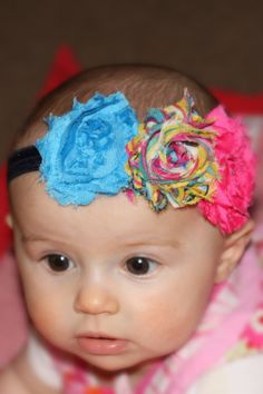 How cute! Triple Chiffon Shabby Chic Rosette Halo Headband! Cheap too!!! :)))