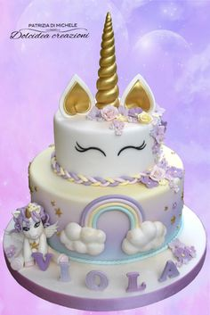 Unicorn cake by Dolcidea creazioni – idea from the web Unicorn Themed Birthday, Birthday Cake, Bolo Minnie, Unicorn Foods, Unicorn Cupcakes, Zucchini Cake, Salty Cake, Cute Desserts, Savoury Cake