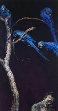 "blue - man and birds - ""The Night of Hyacinth Macaws"" -Joseph Begnaud - painting"
