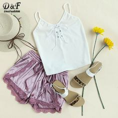 White Ribbed Top Women Lace Up Sexy V Neck Casual Basic Summer Tops Fashion Strappy Vintage Brief Camisole  #fashion #instadaily #style #fun #withoutfilter #styleinspiration #happy #LSN #pretty #instalike