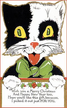 Vintage Christmas kitty.
