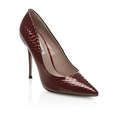 A BERNIE - Burgundy #red Patent Pointed Snake Print Court Shoe by Dune Shoes