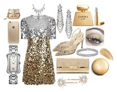"""""""Golden Lady"""" by unusualengagementringsreview ❤ liked on Polyvore featuring Dolce&Gabbana, René Caovilla, Jimmy Choo, Rifle Paper Co, Trina Turk, Apples & Figs, Carl F. Bucherer, Furla, Bling Jewelry and La Perla"""