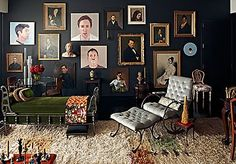 Salon style art - dark and sumptuous walls fall away.  Love.
