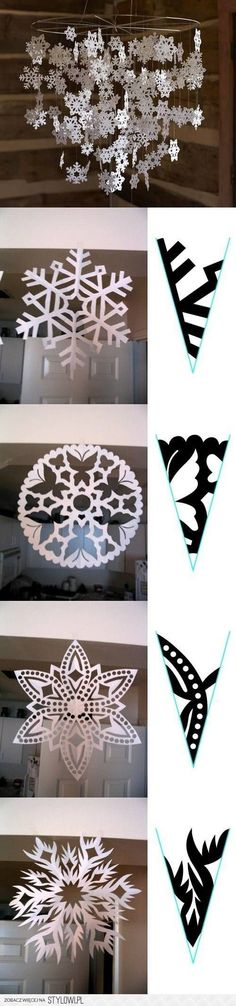 DIY Snowflake Paper Pattern - super cute! I could hang these from my fixture in the dining room