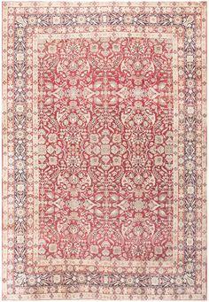 Fine Red Antique Floral Kerman Rug 50370