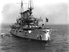 April 18, 1908: USS Louisiana Battleship BB-19 seen off Coronado, California while sailing with the Great White Fleet.