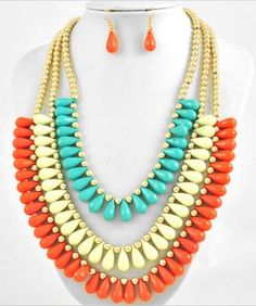 "Chunky Mix Turquoise Cream & Orange Triple Layer Necklace Set Gold Jewelry 19"" #Uniklook"