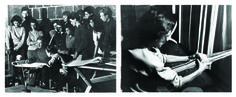 Joseph Albers teaching a drawing class, Anni Albers weaving. Photos from Western Regional Archives.