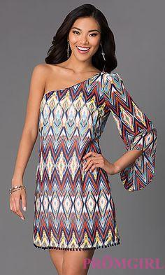 Short One Sleeve Print Dress at PromGirl.com