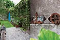 """Sebastián pintó la puerta del depósito de turquesa, una alusión a la arquitectura mexicana. Al igual que las maderas que dan soporte a las macetas, muchos objetos fueron rescatados de demoliciones, como los engranajes y las rejillas antiguas, que """"forman una especie de santuario"""".  Foto:Living /Javier Picerno"""