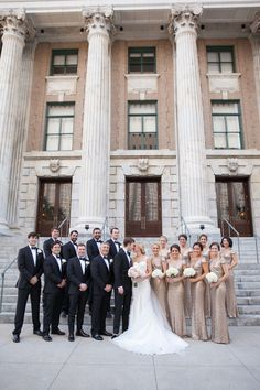 Glamorous downtown Tampa wedding with champagne & blush color palette at historic event venue The Vault, with wedding portraits by Carrie Wildes Photography Fairy Wedding Dress, How To Dress For A Wedding, Wedding Dresses, Party Dresses, Bridesmaids And Groomsmen, Wedding Bridesmaids, Champagne Bridesmaids, Champagne Wedding Themes, Black Tie Wedding