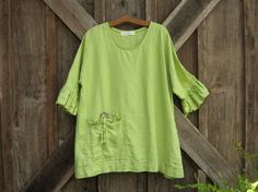 linen blouse top in lime green ready to ship от linenclothing