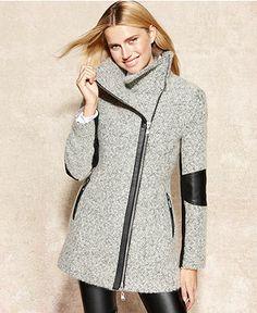 Calvin Klein Faux-Leather-Trim Heathered Coat - Coats - Women - Macy's