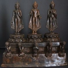 Burmese Bronze Pagan era Buddha Statue on shrine pre 17th Century