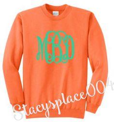 monogrammed sweater, monogrammed sweat shirt, monogrammed shirt, personalized sweater, neon orange sweater