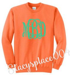 monogrammed sweater, monogrammed sweat shirt, monogrammed shirt, personalized sweater, neon orange sweater