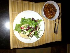 Vegetarian Chili  1 19oz can Black Beans (drain & wash)  1 19oz can kidney beans(drain & wash)  1 19oz can lentils  (drain)  1 cup canned corn (drain)  1 28oz low sodium diced tomatoes (not drained)  1tsp black ground pepper  3Tbsp Chipolte Black Bean & Corn Salsa  1 tsp Sunset Seasoned Salt    Put all ingredients into slow cooker - cook on low up to 8 hours on low    salad is mixed greens, cranberries, blueberries, walnuts, feta, apples and Creamy Vidalia Poppyseed dressing