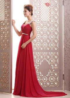 Courtlike A-Line Straps Pearls Beading Backless Court Train Floor-Length Evening Dress : Tidebuy.com