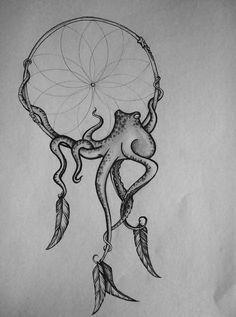 octopus dream catcher - drawn by JRR