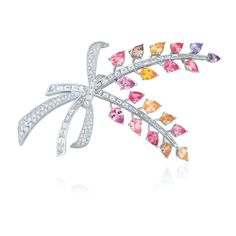 Diamond and multicolor sapphire spray brooch from the Kwiat Collection in platinum Yellow Jewelry, I Love Jewelry, Jewelry Art, Jewelry Design, Sapphire Jewelry, Diamond Jewelry, Titanic Jewelry, Diamond Brooch, Jewels