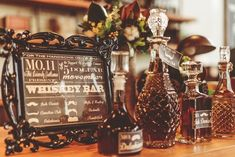 Decadent decanters | A cigar lounge set up for the gentlemen over canapes | Cut glass & crystal collections