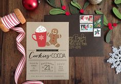 Adorable typography and layout on this party invite on brown paper Christmas Party Games, Xmas Party, Christmas Activities, Holiday Parties, Cocoa Party, Gingerbread House Parties, Elsa Birthday, Christmas Party Invitations, Digital Invitations