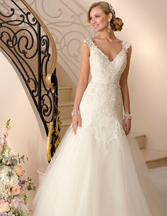 Stella York 5949 beaded Lace and Tulle modified A-Line wedding gown