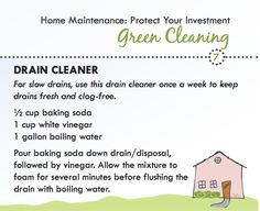 Green cleaning recipe for drains
