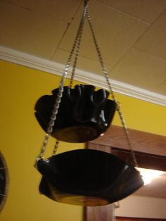 Take your record bowls one step further by turning them into a Hanging Fruit And Veggie Holder
