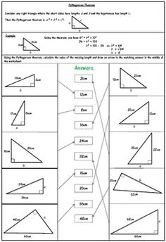 pythagorean theorem worksheet mixed questions pythagorean theorem activities pinterest. Black Bedroom Furniture Sets. Home Design Ideas