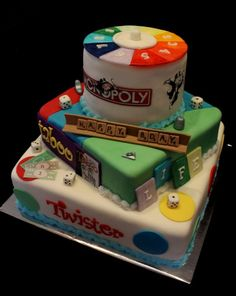 This cake but with Taboo on the bottom, Yahtzee Free For All as the middle layer & the very top made to look like the Catch Phrase disk.  (leave the Monopoly & other games that are on the sides)