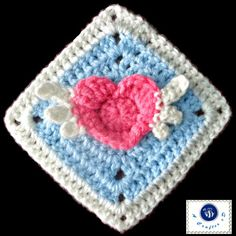 Angel Heart Granny Square made with our Martha Stewart Crafts Extra Soft Wool Blend.  Pattern by Maz Kwok