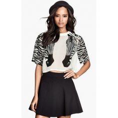 Lovely Wholesale | Figura cor Short Sleeve Animal Zebra Printed Cotton T-Shirt