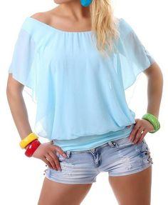 Tops dames blouse m transparant aqua blauw /mint groen One size €17,50  ladymode.nl Tops dames blouse met transparant stof over een iets strakke  top in het ...