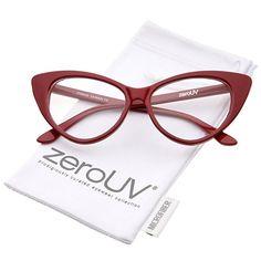 44446a4eb0 Amazon.com  zeroUV - Super Cat Eye Glasses Vintage Inspired Mod Fashion  Clear Lens Eyewear (Red)  Clothing
