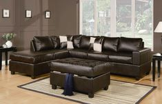 Sacramento Espresso Leather Sectional Sofa Set with Chaise at GoWFB.ca | Urban Cali | Free Shipping