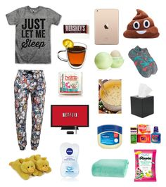 """""""Sick Day Outfit"""" by erbear03011 ❤ liked on Polyvore featuring Moschino, Royce Leather, J.Crew, Berkshire Blanket, Eos and Hershey's"""