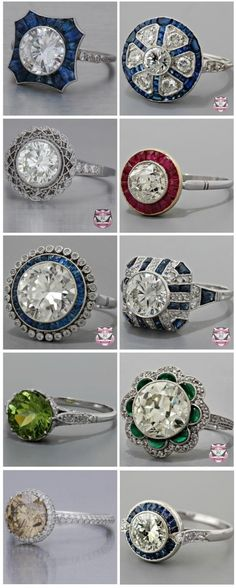 Best Diamond Engagement Rings : Antique diamond engagement rings (the two on the bottom left give me a headache . - Buy Me Diamond Bracelet Antique, Antique Rings, Vintage Rings, Antique Jewelry, Vintage Jewelry, Vintage Diamond, Antique Art, Western Jewelry, Vintage Art
